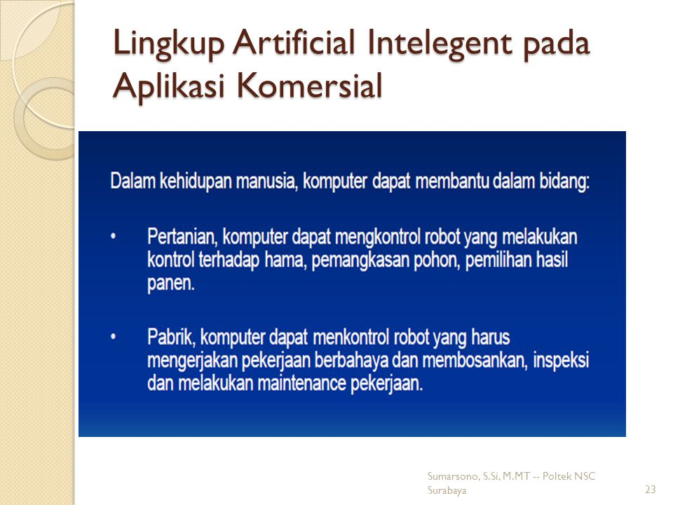 Lingkup Artificial Intelegent pada Aplikasi Komersial