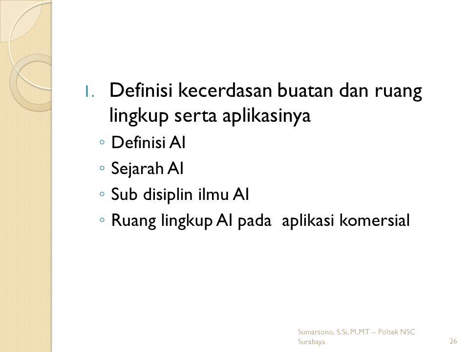 Definisi kecerdasan buatan dan ruang lingkup serta aplikasinya
