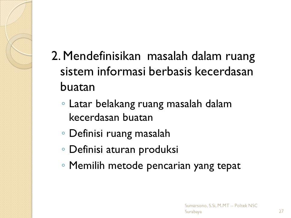 2. Mendefinisikan masalah dalam ruang sistem informasi berbasis kecerdasan buatan