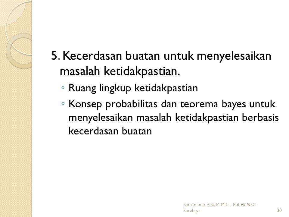 5. Kecerdasan buatan untuk menyelesaikan masalah ketidakpastian.