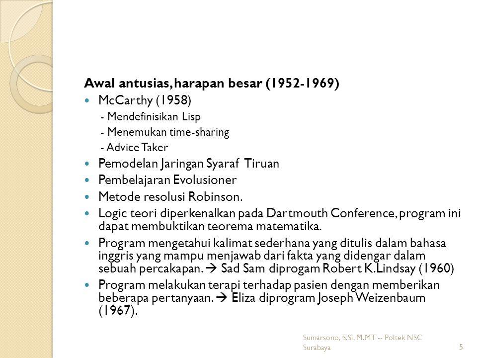 Awal antusias, harapan besar (1952-1969) McCarthy (1958)