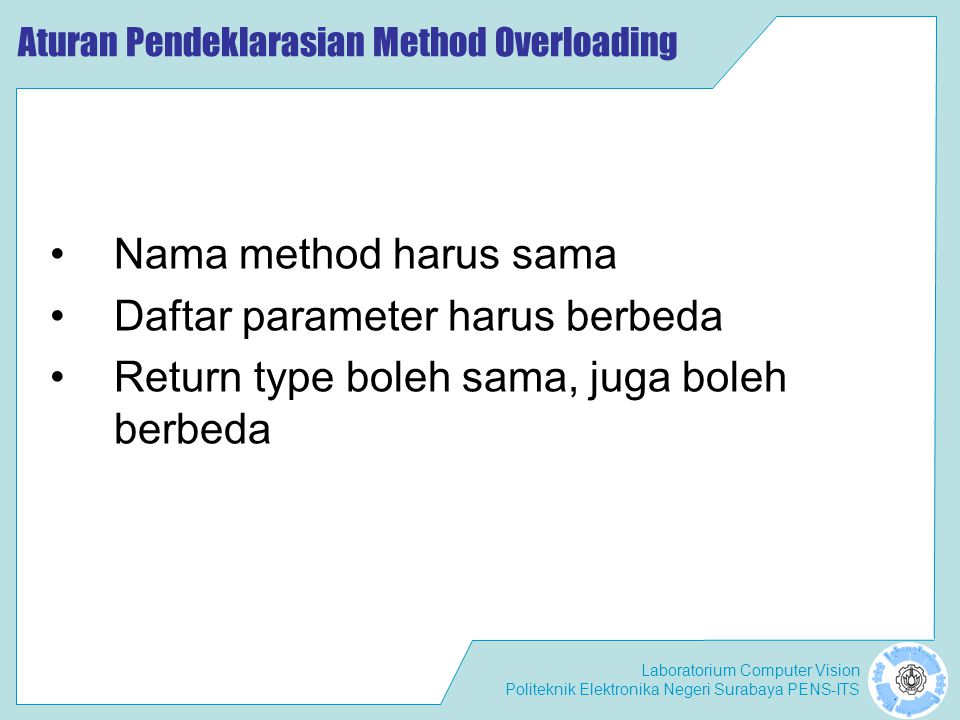 Aturan Pendeklarasian Method Overloading