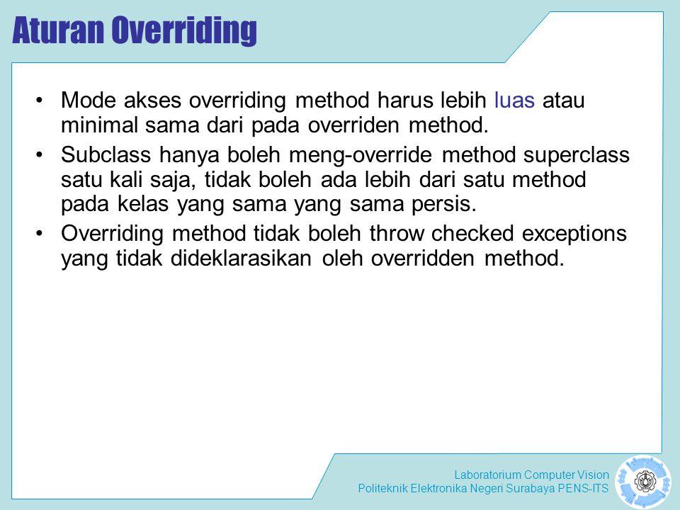 Aturan Overriding Mode akses overriding method harus lebih luas atau minimal sama dari pada overriden method.