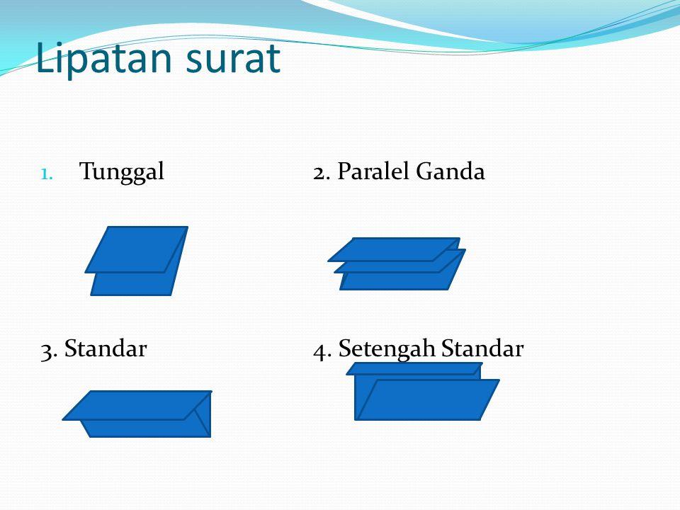 Lipatan surat Tunggal 2. Paralel Ganda 3. Standar 4. Setengah Standar