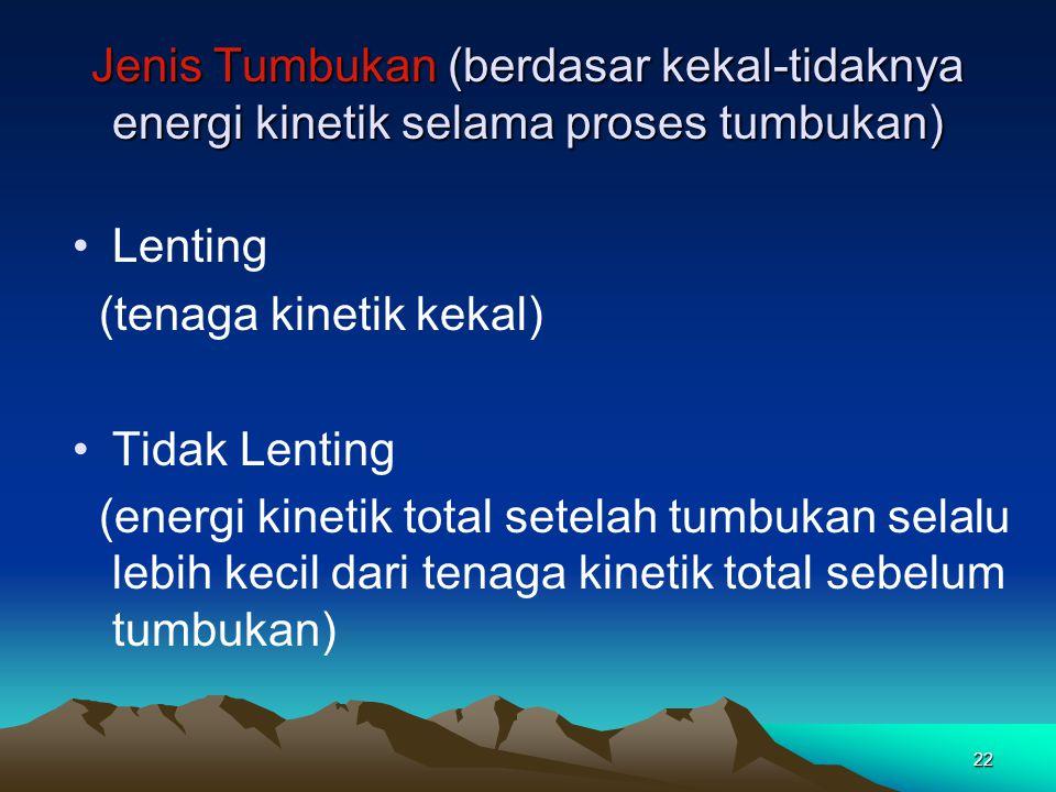Jenis Tumbukan (berdasar kekal-tidaknya energi kinetik selama proses tumbukan)