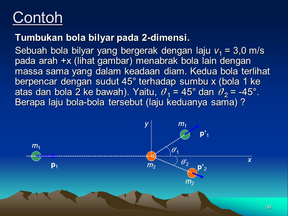 Contoh Tumbukan bola bilyar pada 2-dimensi.