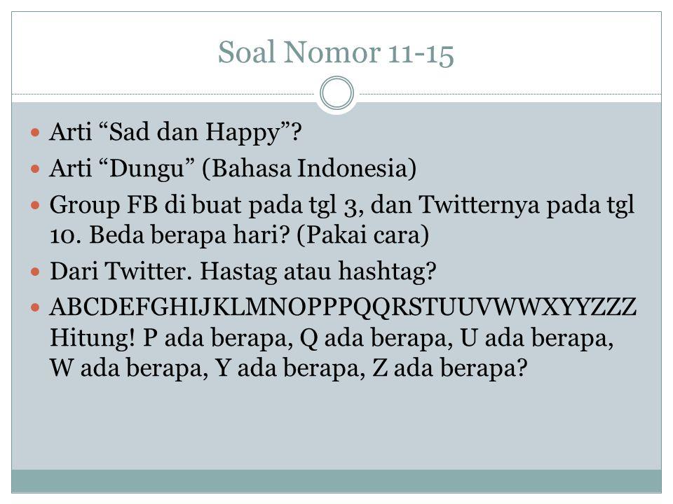 Soal Nomor 11-15 Arti Sad dan Happy Arti Dungu (Bahasa Indonesia)