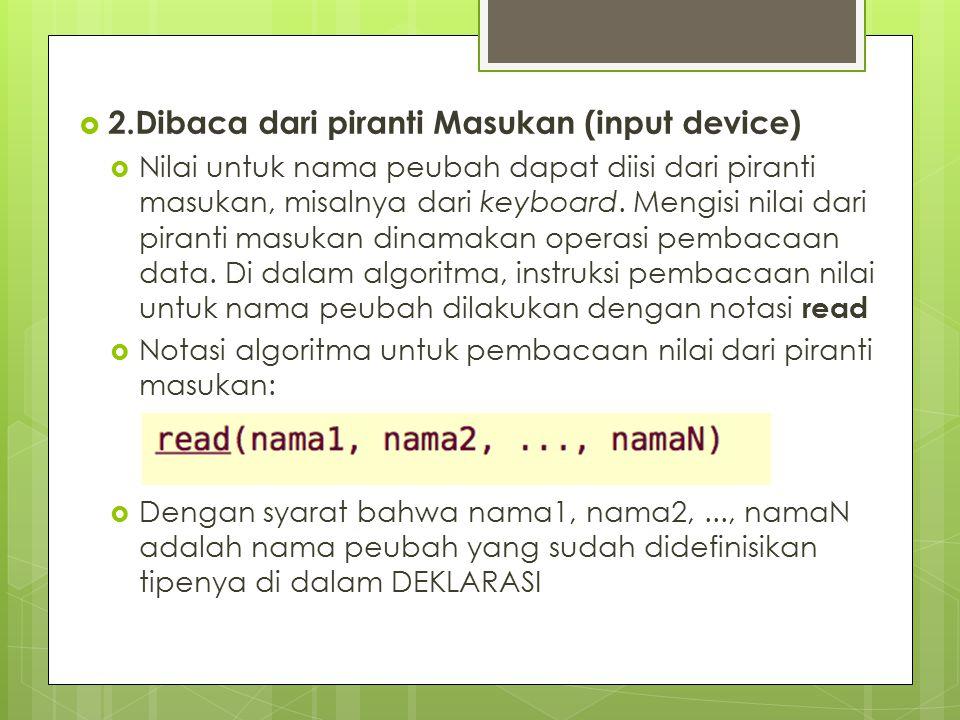 2.Dibaca dari piranti Masukan (input device)