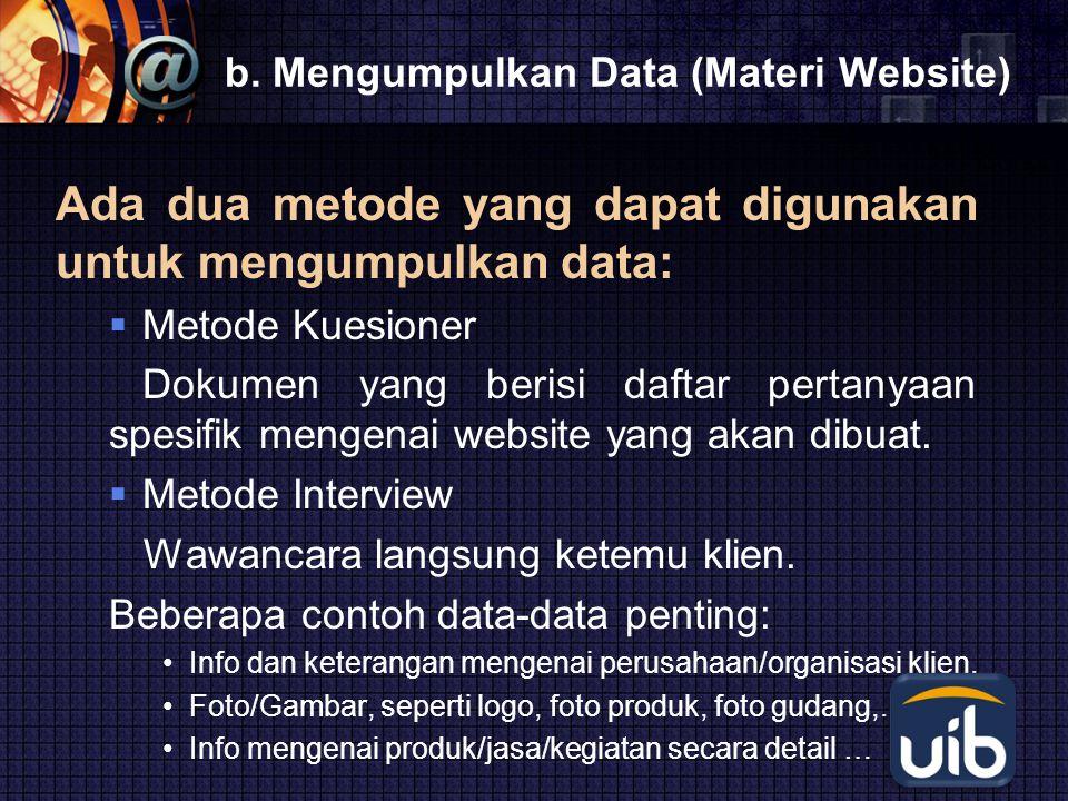 b. Mengumpulkan Data (Materi Website)