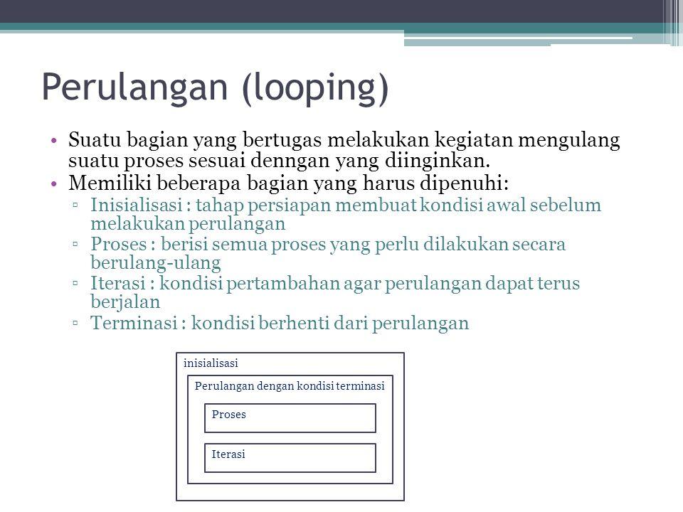 Perulangan (looping) Suatu bagian yang bertugas melakukan kegiatan mengulang suatu proses sesuai denngan yang diinginkan.