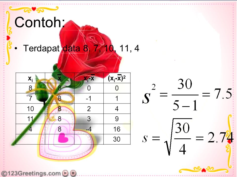 Contoh: Terdapat data 8. 7, 10, 11, 4 xi x xi-x (xi-x)2 8 7 -1 1 10 2
