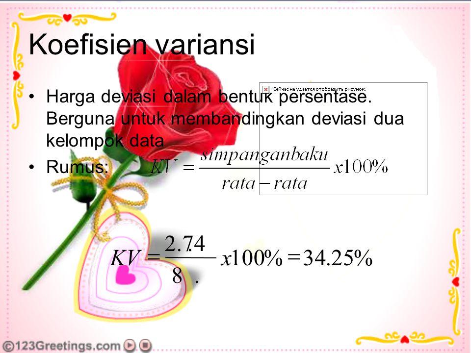Koefisien variansi % 25 . 34 100 8 2.74 = x KV