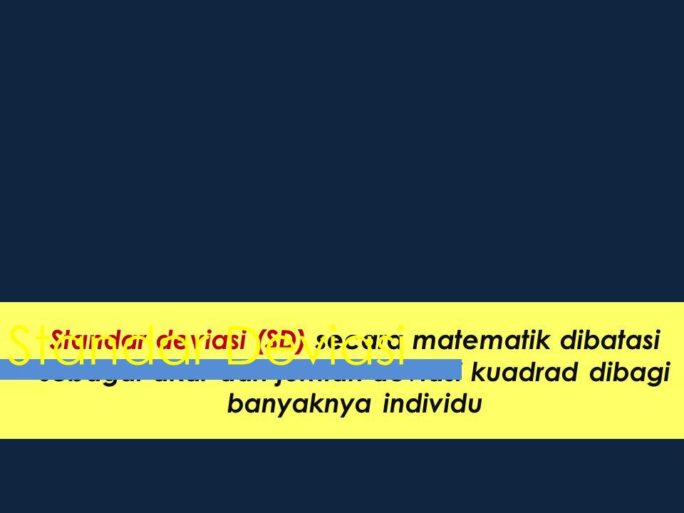 Standar deviasi (SD) secara matematik dibatasi sebagai akar dari jumlah deviasi kuadrad dibagi banyaknya individu