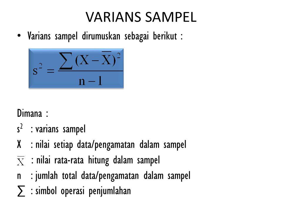 VARIANS SAMPEL Varians sampel dirumuskan sebagai berikut : Dimana :