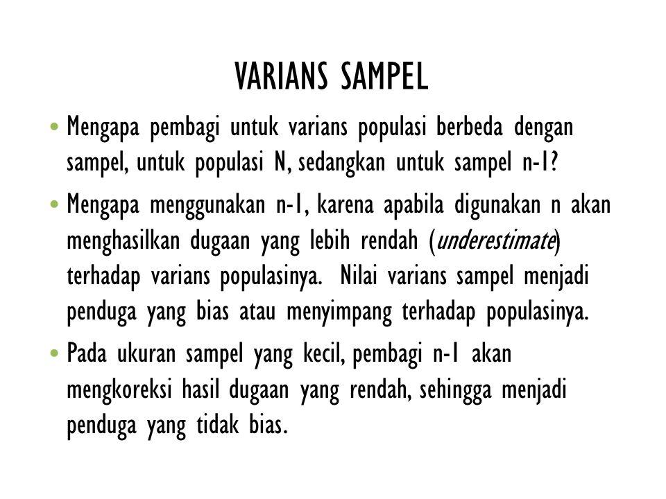 VARIANS SAMPEL Mengapa pembagi untuk varians populasi berbeda dengan sampel, untuk populasi N, sedangkan untuk sampel n-1