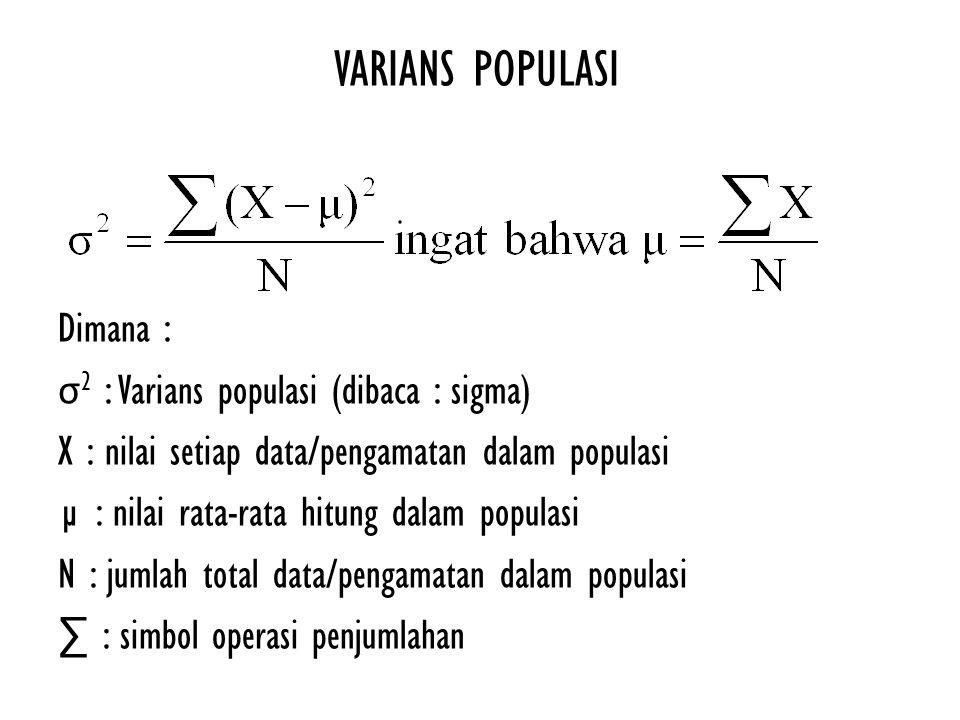 VARIANS POPULASI Dimana : σ2 : Varians populasi (dibaca : sigma)