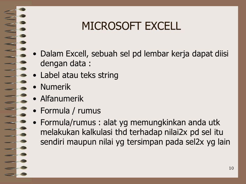 MICROSOFT EXCELL Dalam Excell, sebuah sel pd lembar kerja dapat diisi dengan data : Label atau teks string.