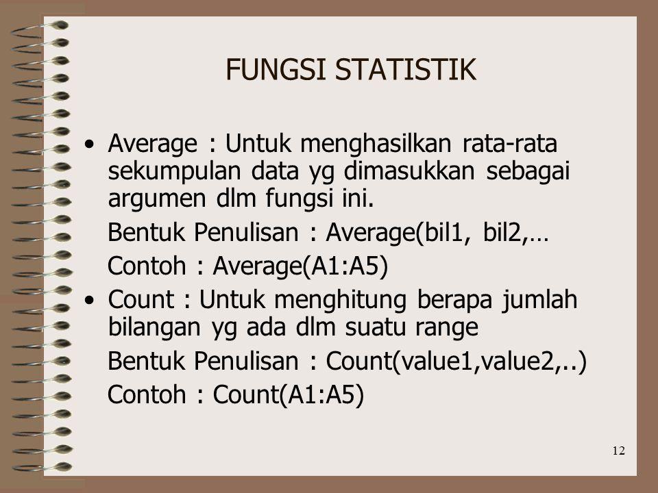 FUNGSI STATISTIK Average : Untuk menghasilkan rata-rata sekumpulan data yg dimasukkan sebagai argumen dlm fungsi ini.