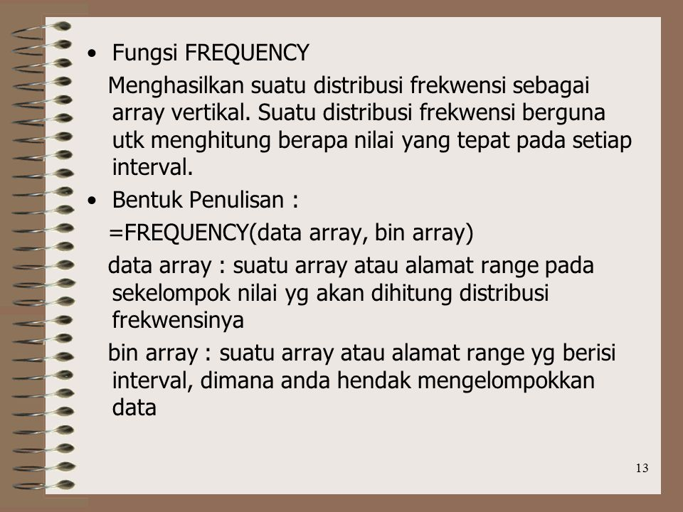 Fungsi FREQUENCY