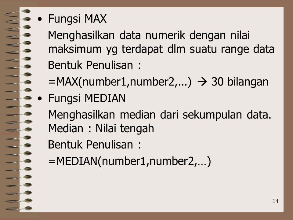 Fungsi MAX Menghasilkan data numerik dengan nilai maksimum yg terdapat dlm suatu range data. Bentuk Penulisan :