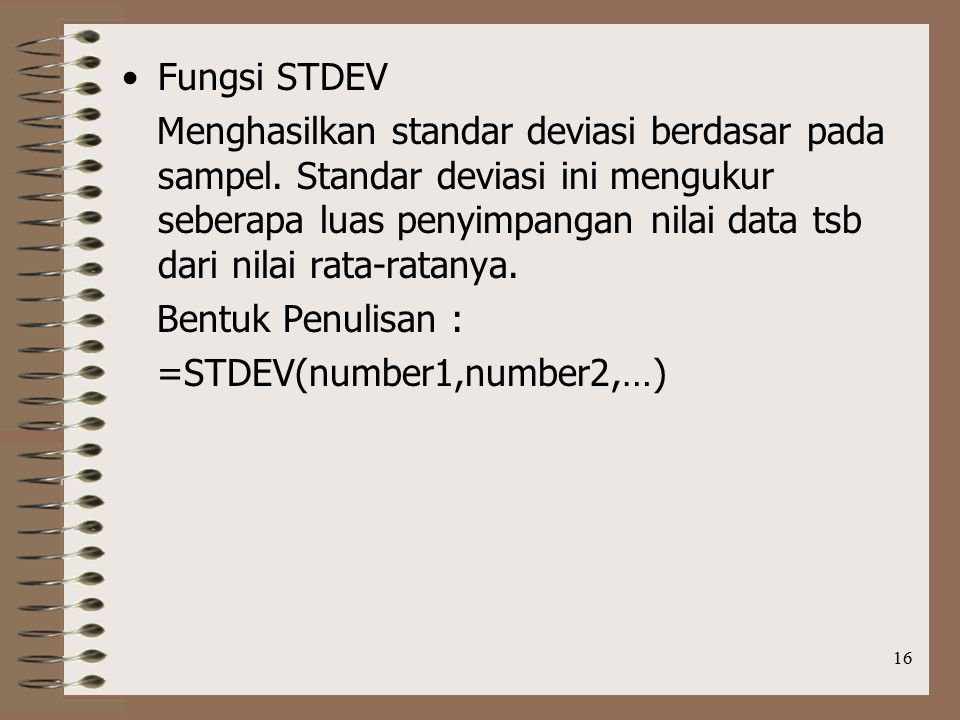 Fungsi STDEV