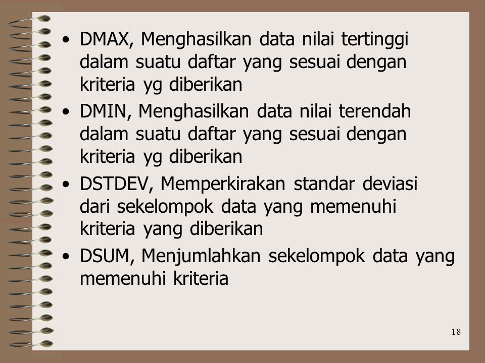 DMAX, Menghasilkan data nilai tertinggi dalam suatu daftar yang sesuai dengan kriteria yg diberikan