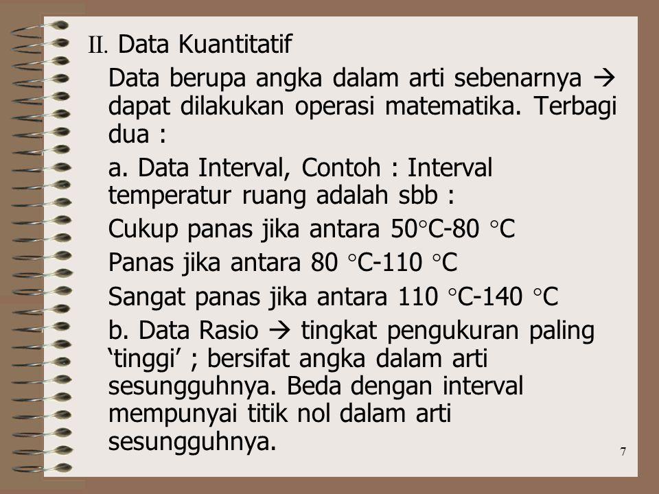 a. Data Interval, Contoh : Interval temperatur ruang adalah sbb :