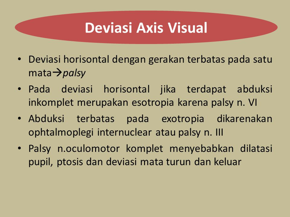 Deviasi Axis Visual Deviasi horisontal dengan gerakan terbatas pada satu matapalsy.