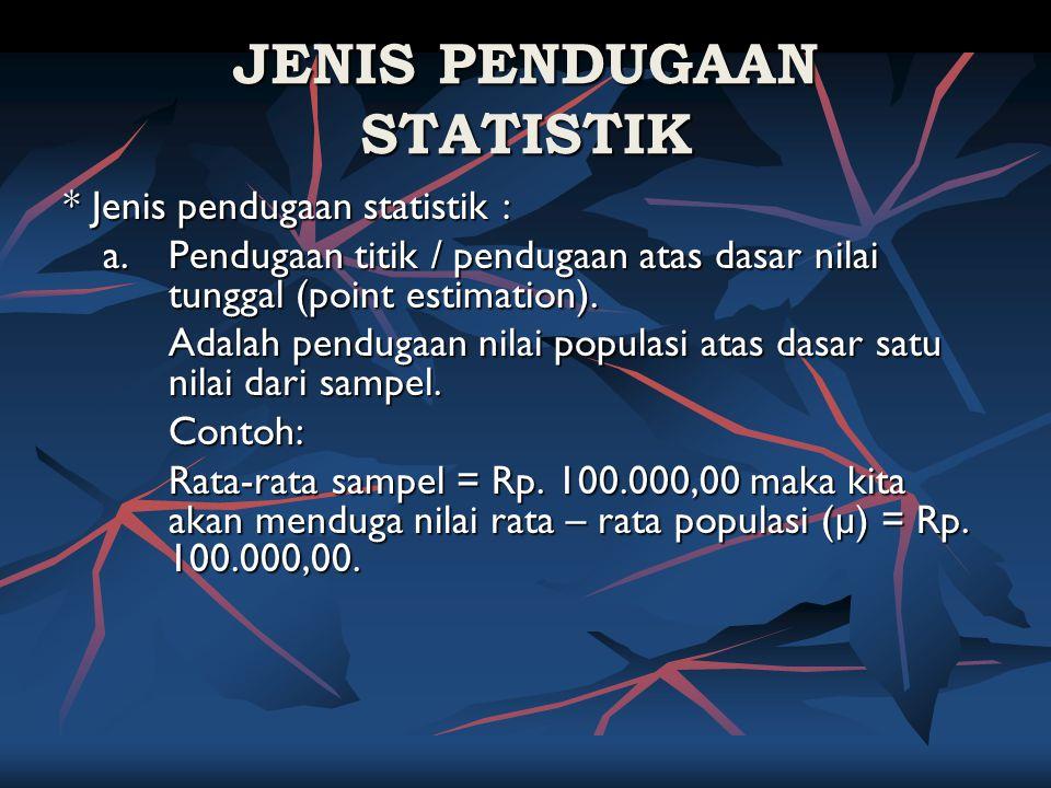 JENIS PENDUGAAN STATISTIK