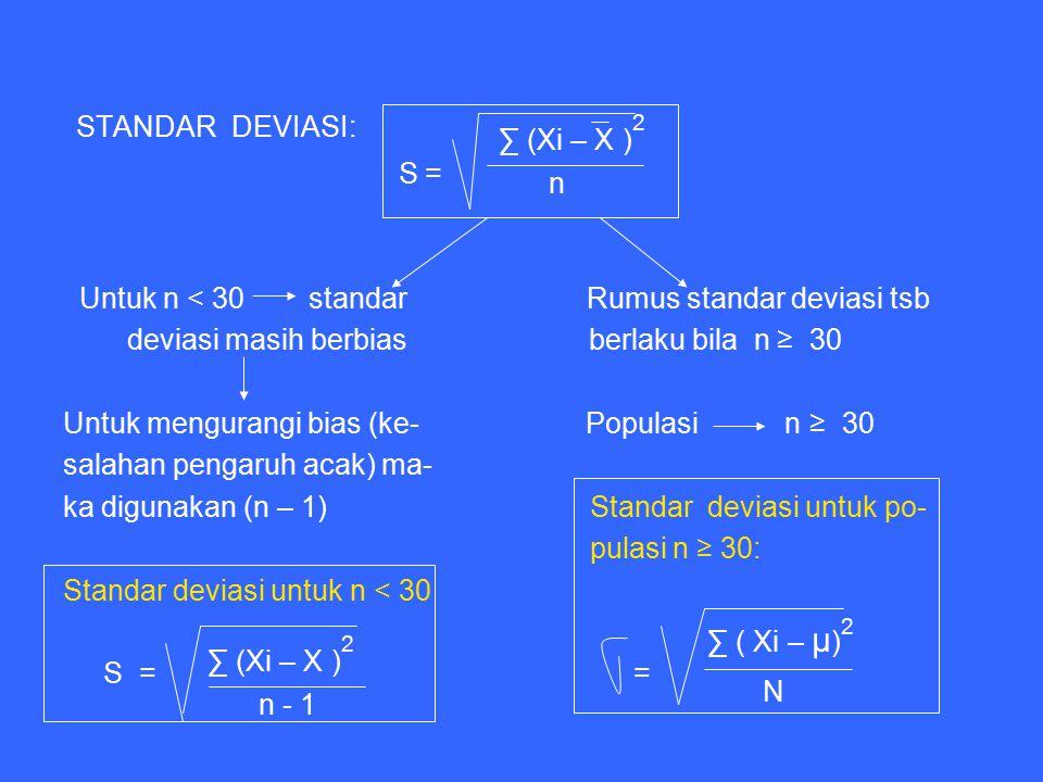 STANDAR DEVIASI: ∑ (Xi – X ) S = n