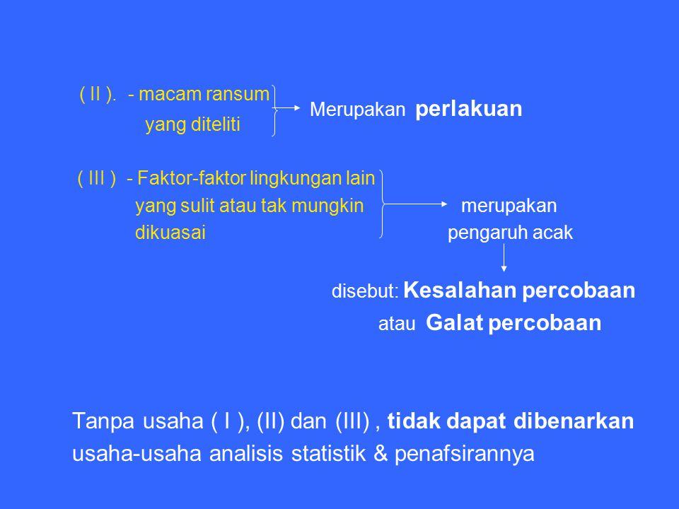 ( II ). - macam ransum yang diteliti. ( III ) - Faktor-faktor lingkungan lain. yang sulit atau tak mungkin merupakan.