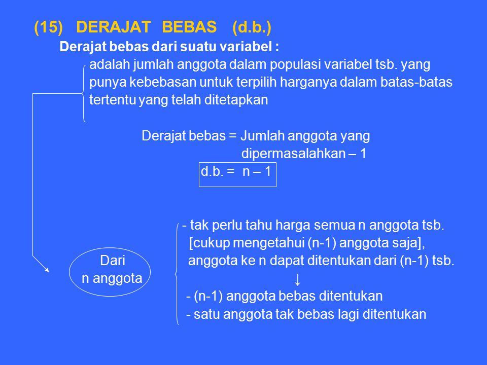 (15) DERAJAT BEBAS (d.b.) Derajat bebas dari suatu variabel :