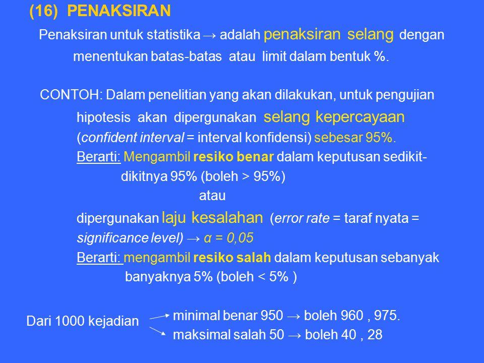 Penaksiran untuk statistika → adalah penaksiran selang dengan