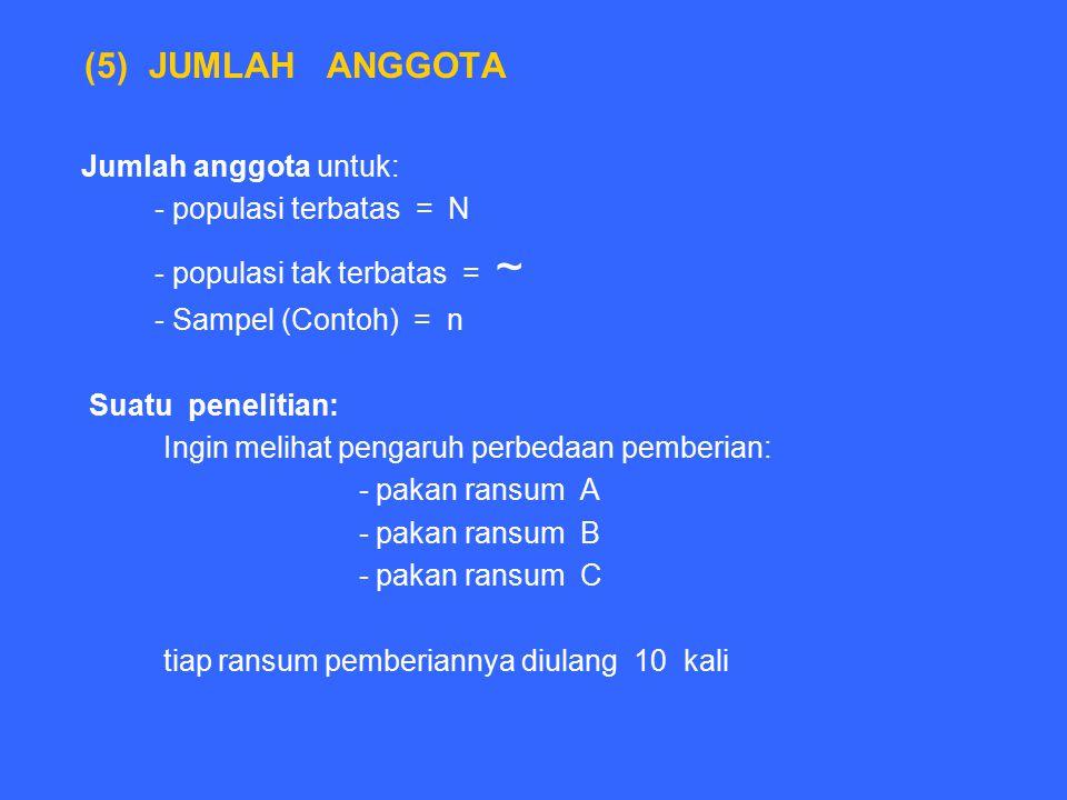 (5) JUMLAH ANGGOTA Jumlah anggota untuk: - populasi terbatas = N