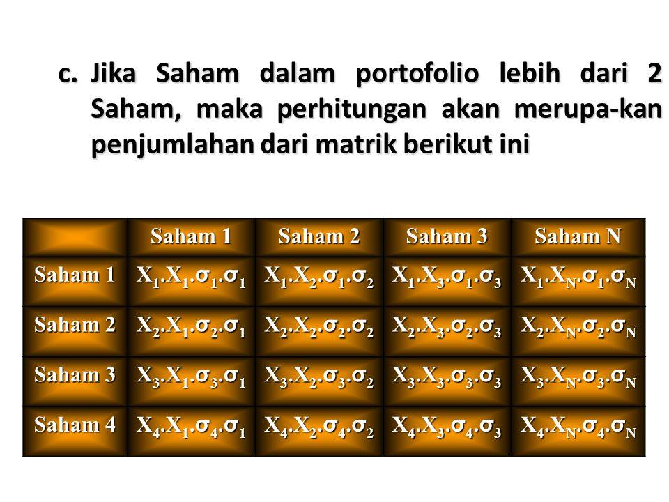 Jika Saham dalam portofolio lebih dari 2 Saham, maka perhitungan akan merupa-kan penjumlahan dari matrik berikut ini