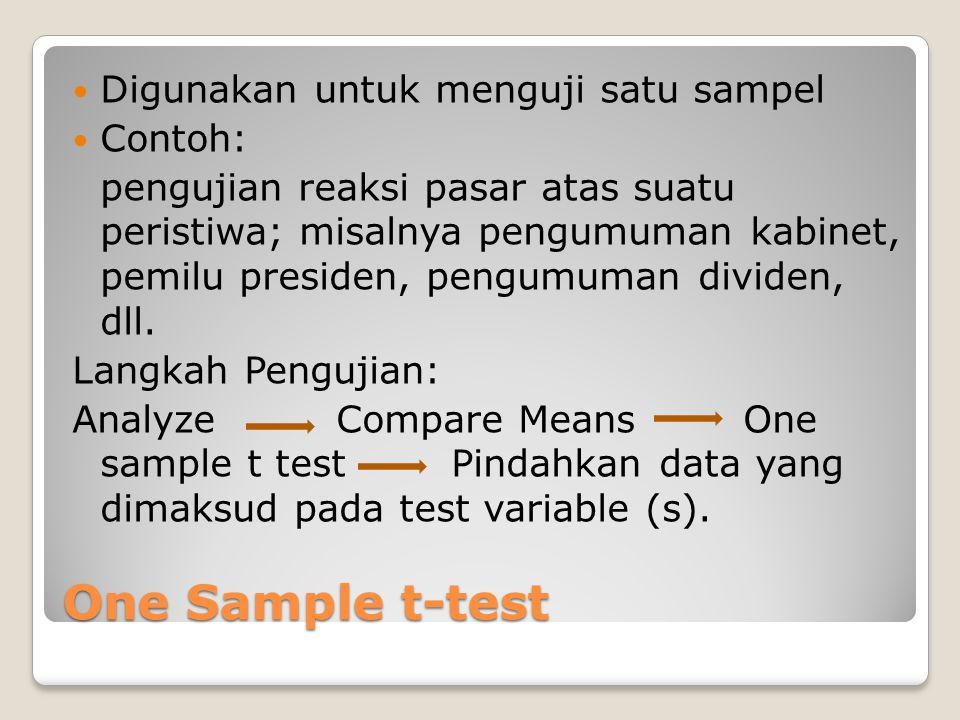 One Sample t-test Digunakan untuk menguji satu sampel Contoh: