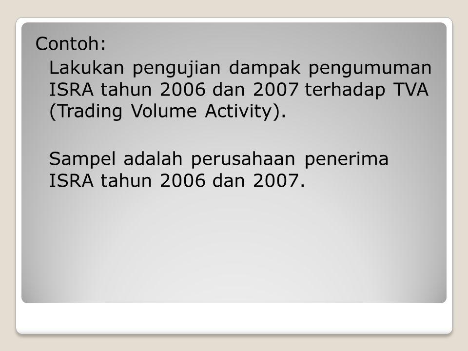 Contoh: Lakukan pengujian dampak pengumuman ISRA tahun 2006 dan 2007 terhadap TVA (Trading Volume Activity).