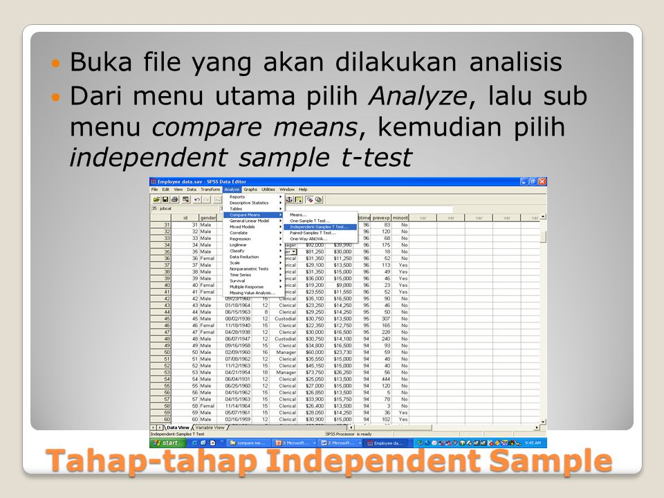 Tahap-tahap Independent Sample
