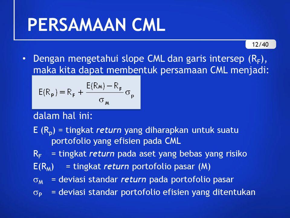 PERSAMAAN CML 12/40. Dengan mengetahui slope CML dan garis intersep (RF), maka kita dapat membentuk persamaan CML menjadi: