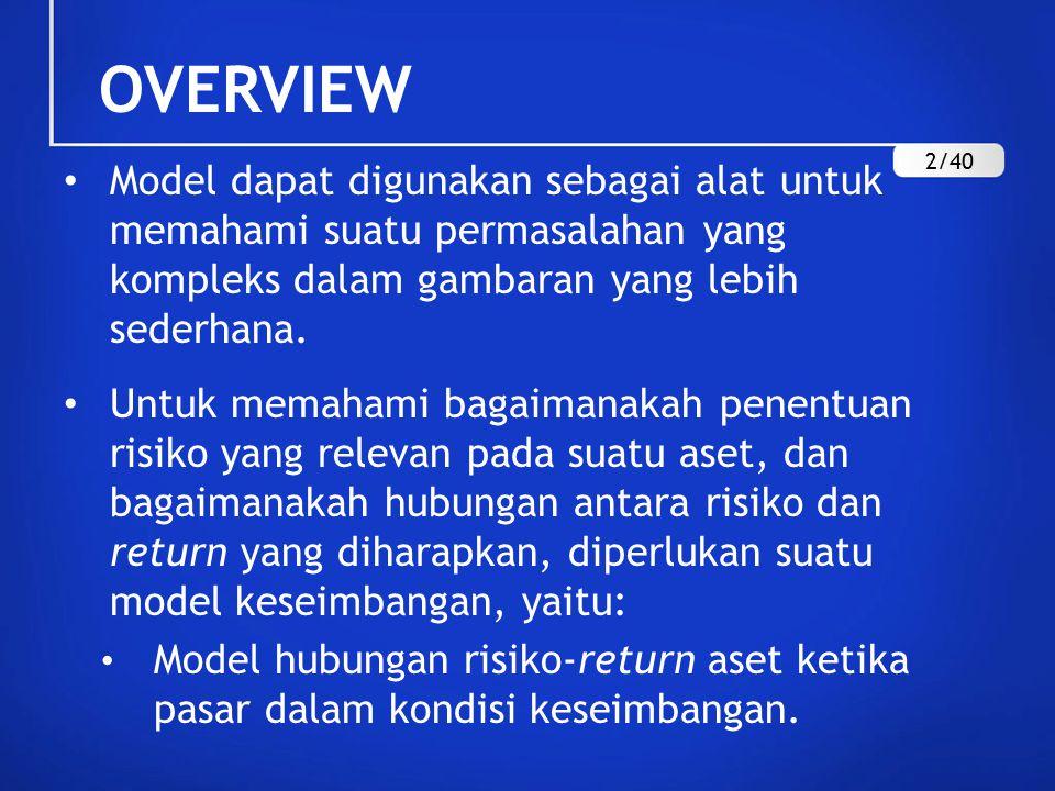 OVERVIEW 2/40. Model dapat digunakan sebagai alat untuk memahami suatu permasalahan yang kompleks dalam gambaran yang lebih sederhana.