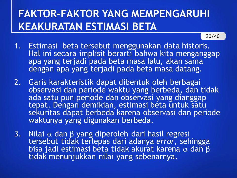 FAKTOR-FAKTOR YANG MEMPENGARUHI KEAKURATAN ESTIMASI BETA