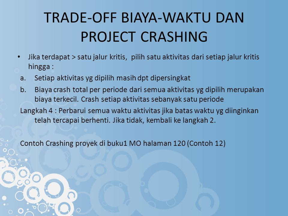 TRADE-OFF BIAYA-WAKTU DAN PROJECT CRASHING