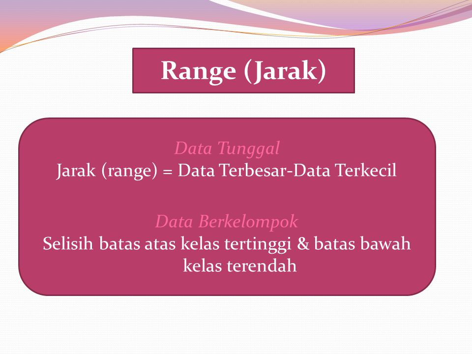 Range (Jarak) Data Tunggal Jarak (range) = Data Terbesar-Data Terkecil