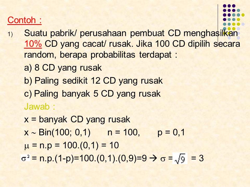 Contoh : Suatu pabrik/ perusahaan pembuat CD menghasilkan 10% CD yang cacat/ rusak. Jika 100 CD dipilih secara random, berapa probabilitas terdapat :