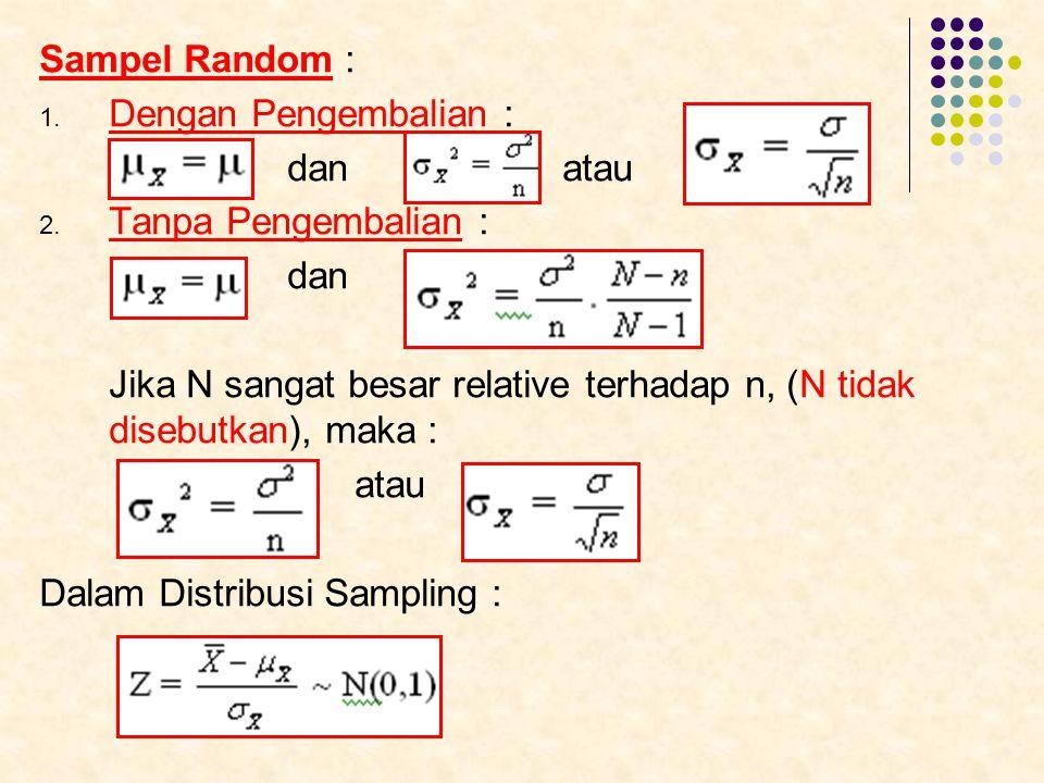 Sampel Random : Dengan Pengembalian : dan atau. Tanpa Pengembalian : dan.