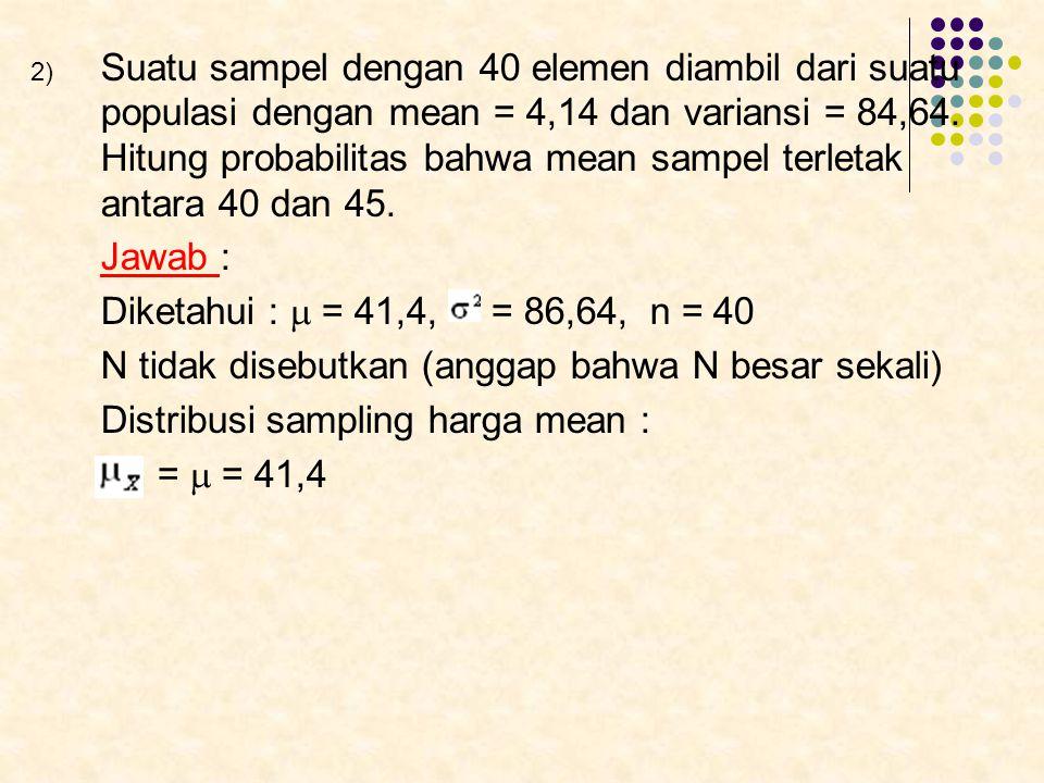Suatu sampel dengan 40 elemen diambil dari suatu populasi dengan mean = 4,14 dan variansi = 84,64. Hitung probabilitas bahwa mean sampel terletak antara 40 dan 45.