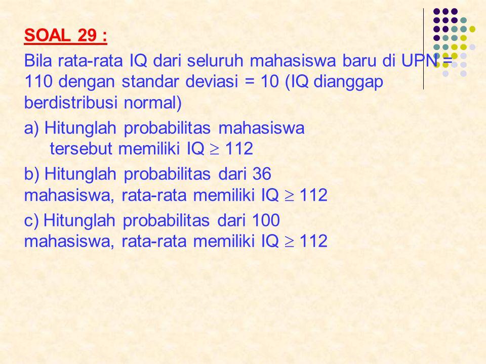 SOAL 29 : Bila rata-rata IQ dari seluruh mahasiswa baru di UPN = 110 dengan standar deviasi = 10 (IQ dianggap berdistribusi normal)