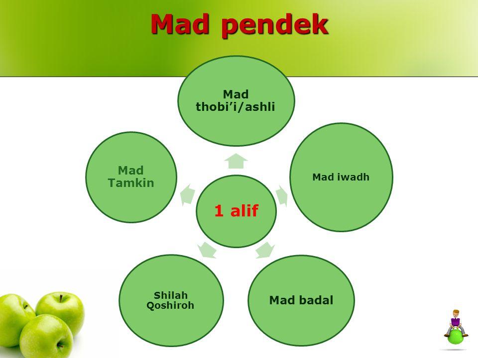 Mad pendek 1 alif Mad iwadh Shilah Qoshiroh Mad thobi'i/ashli