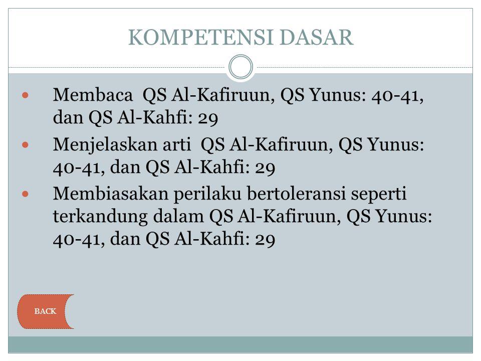 KOMPETENSI DASAR Membaca QS Al-Kafiruun, QS Yunus: 40-41, dan QS Al-Kahfi: 29.