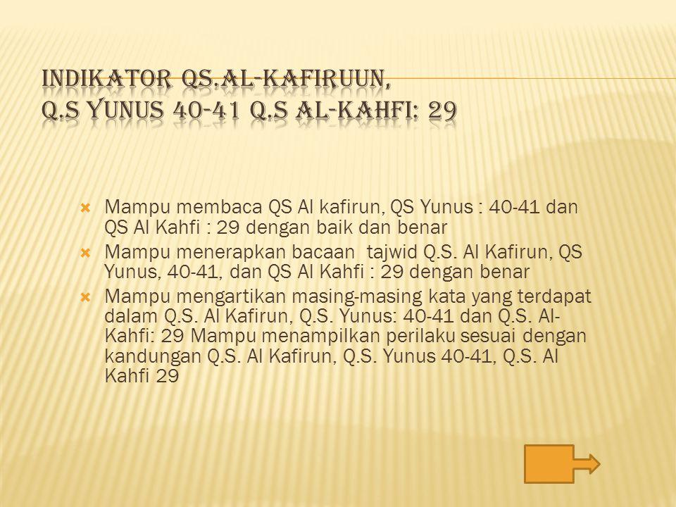 INDIKATOR QS.AL-KAFIRUUN, Q.S YUNUS 40-41 Q.S AL-KAHFI: 29